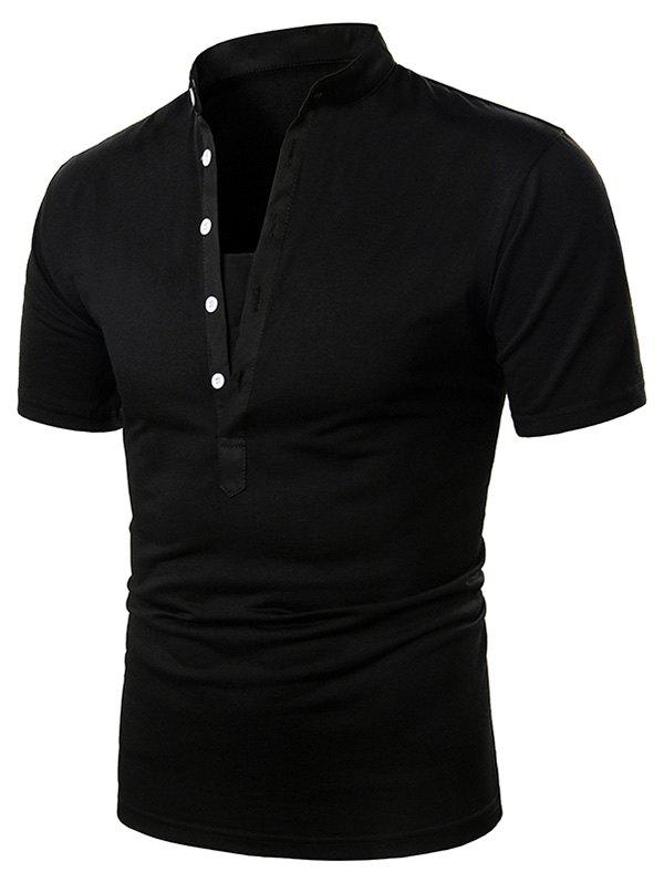 Plain Stand Collar Half Button Short Sleeve T Shirt - BLACK L