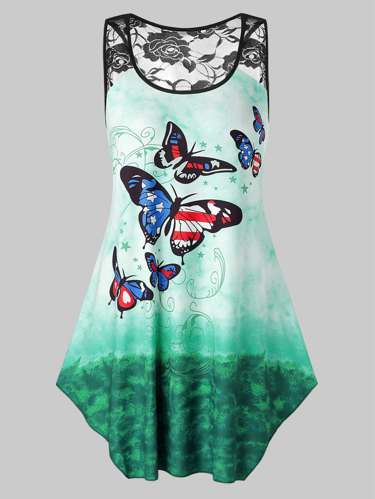 Plus Size Butterfly Printed Tie Dye Lace Panel Tank Top - MEDIUM TURQUOISE L