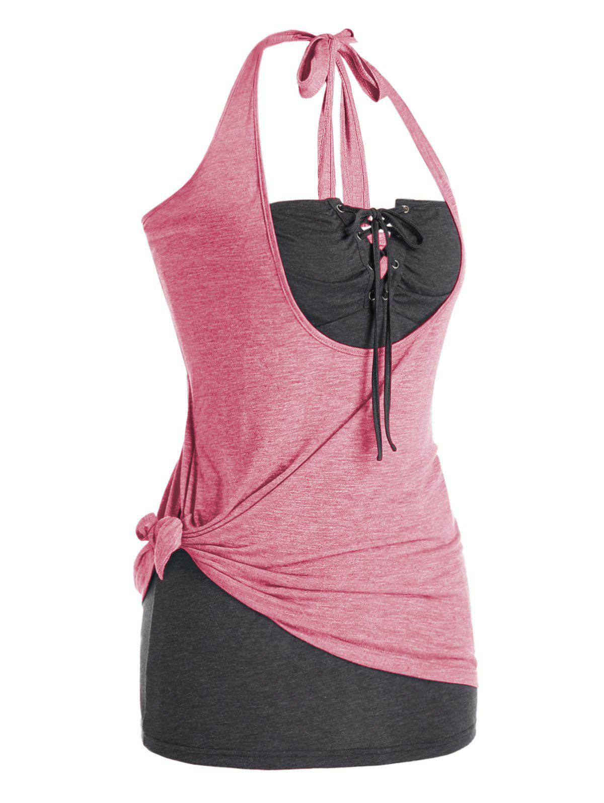 Plus Size Halter Knotted Top and Lace Up Strapless Top Set - PINK 5X