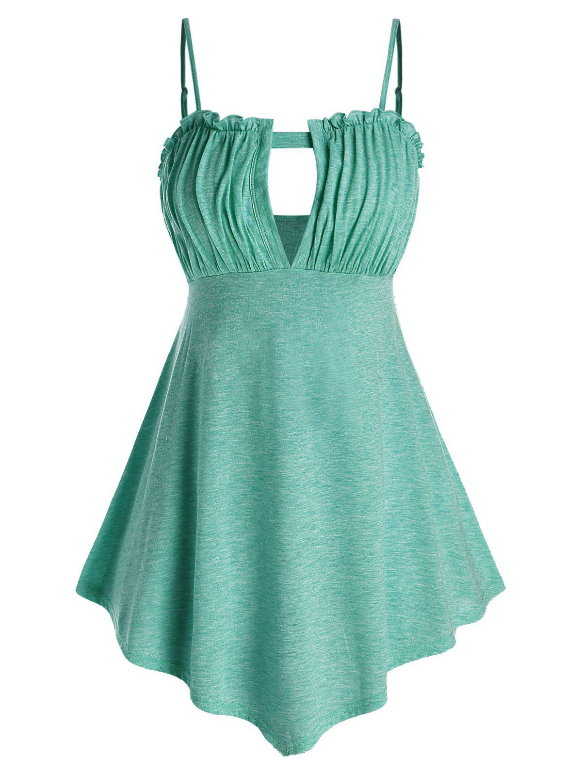 Plus Size Cutout Ruched Tank Top - MEDIUM TURQUOISE 3X