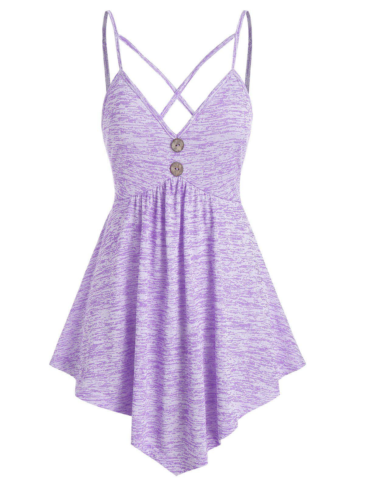 Harness Strap Space Dye Cami Tank Top - MAUVE 3XL