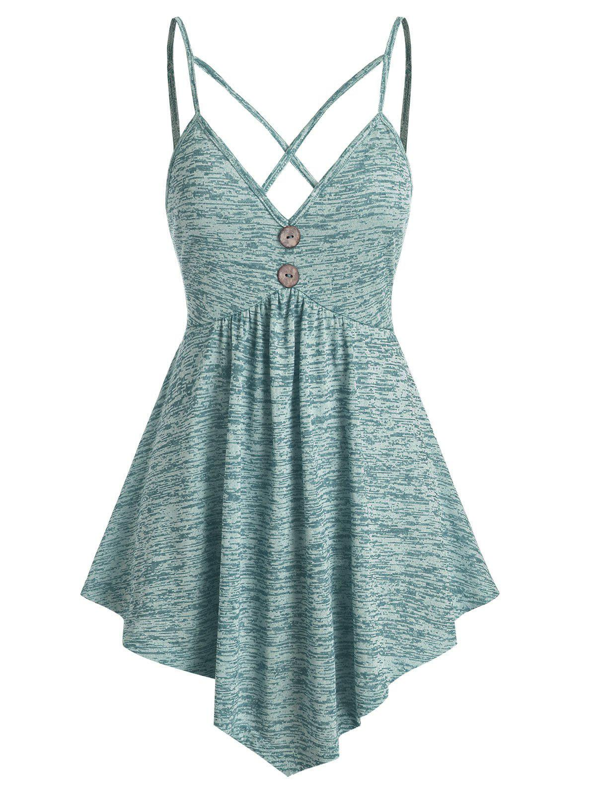 Harness Strap Space Dye Cami Tank Top - MEDIUM TURQUOISE M