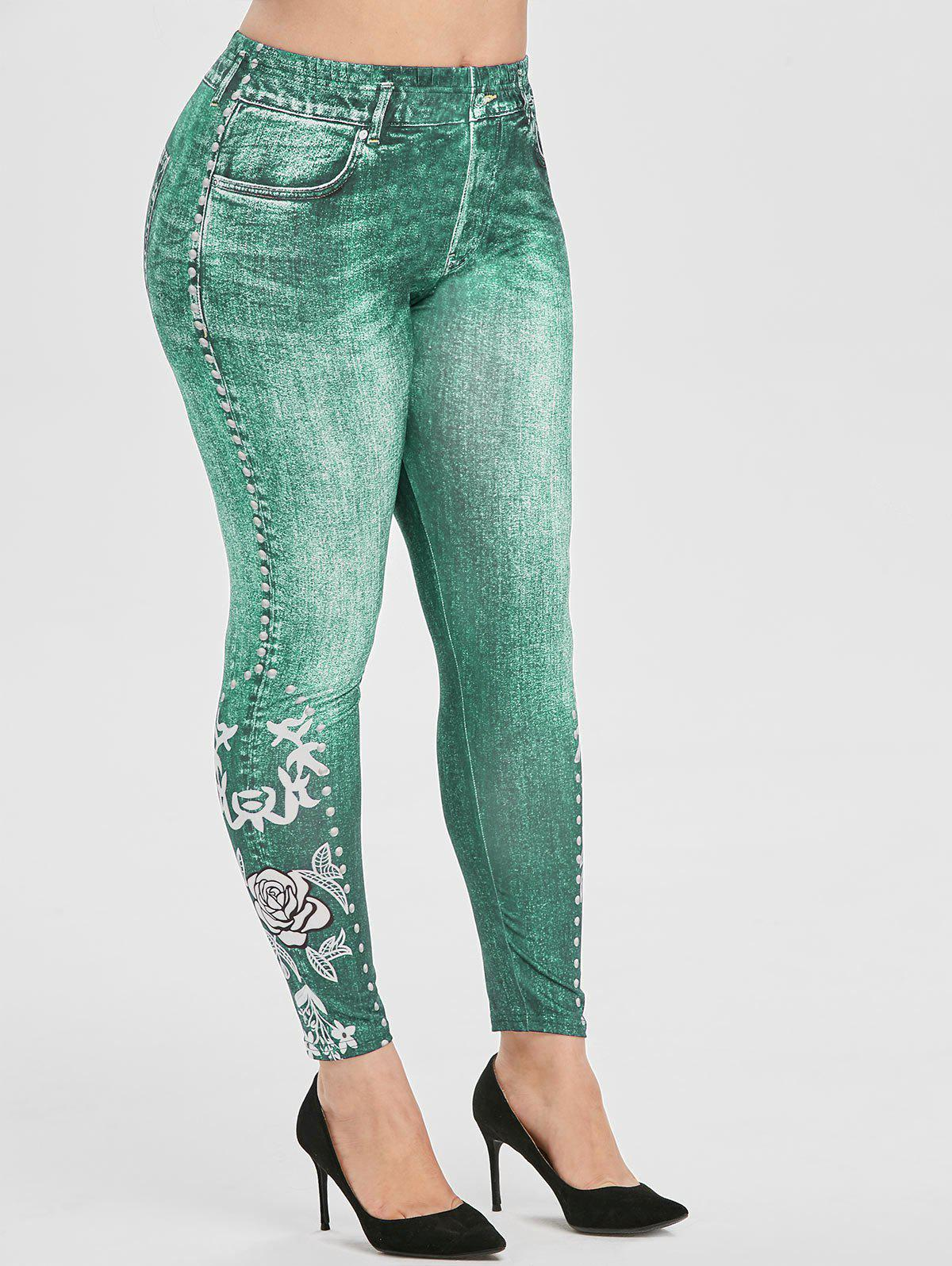 Plus Size Floral Print High Rise Skinny Jeggings - LIGHT SEA GREEN 5X