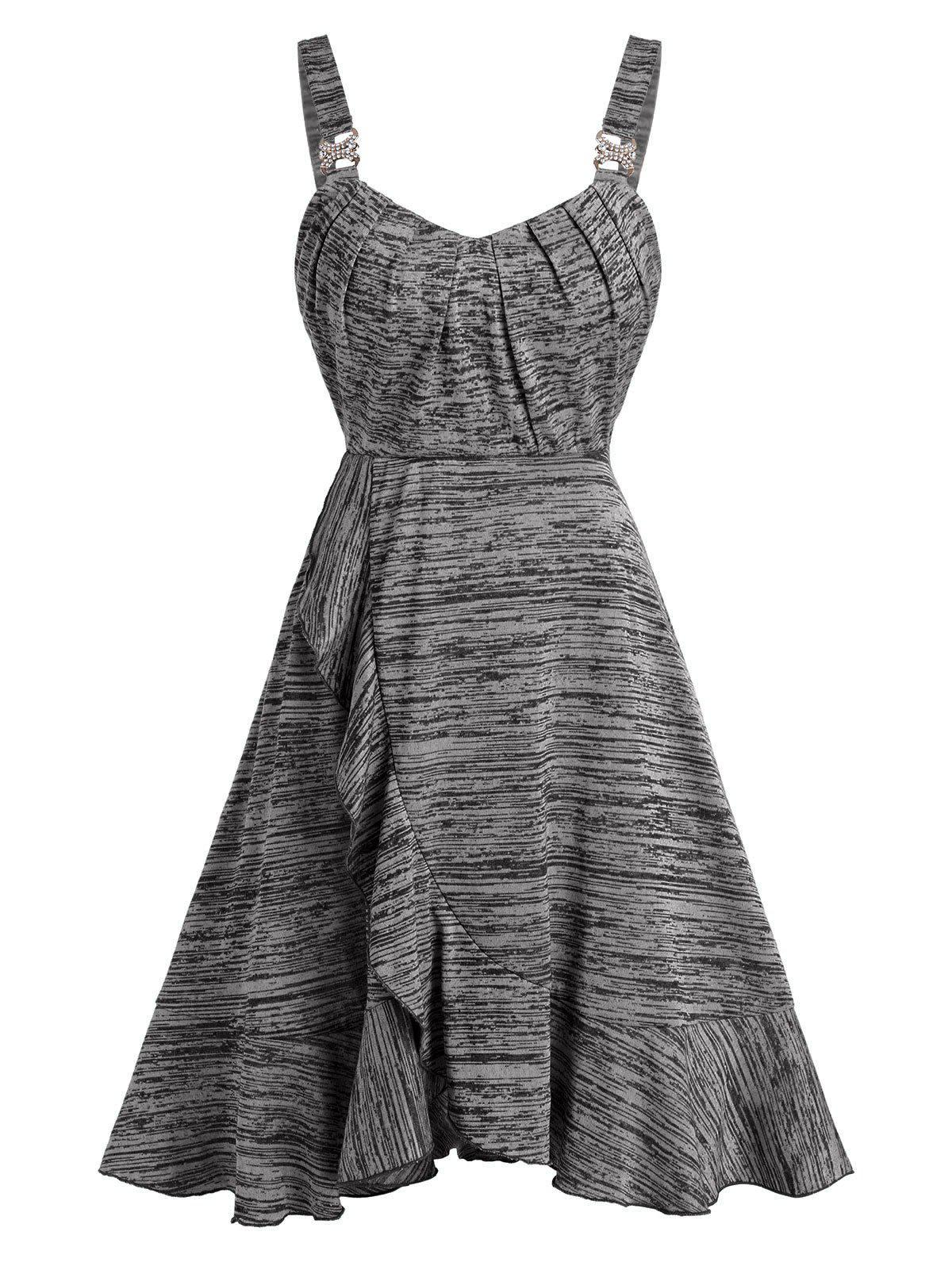 Space Dye Buckled Ruffled Mini Cami Dress - DARK GRAY 2XL