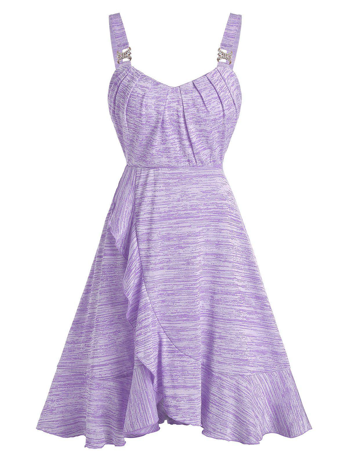 Space Dye Buckled Ruffled Mini Cami Dress - MAUVE 3XL