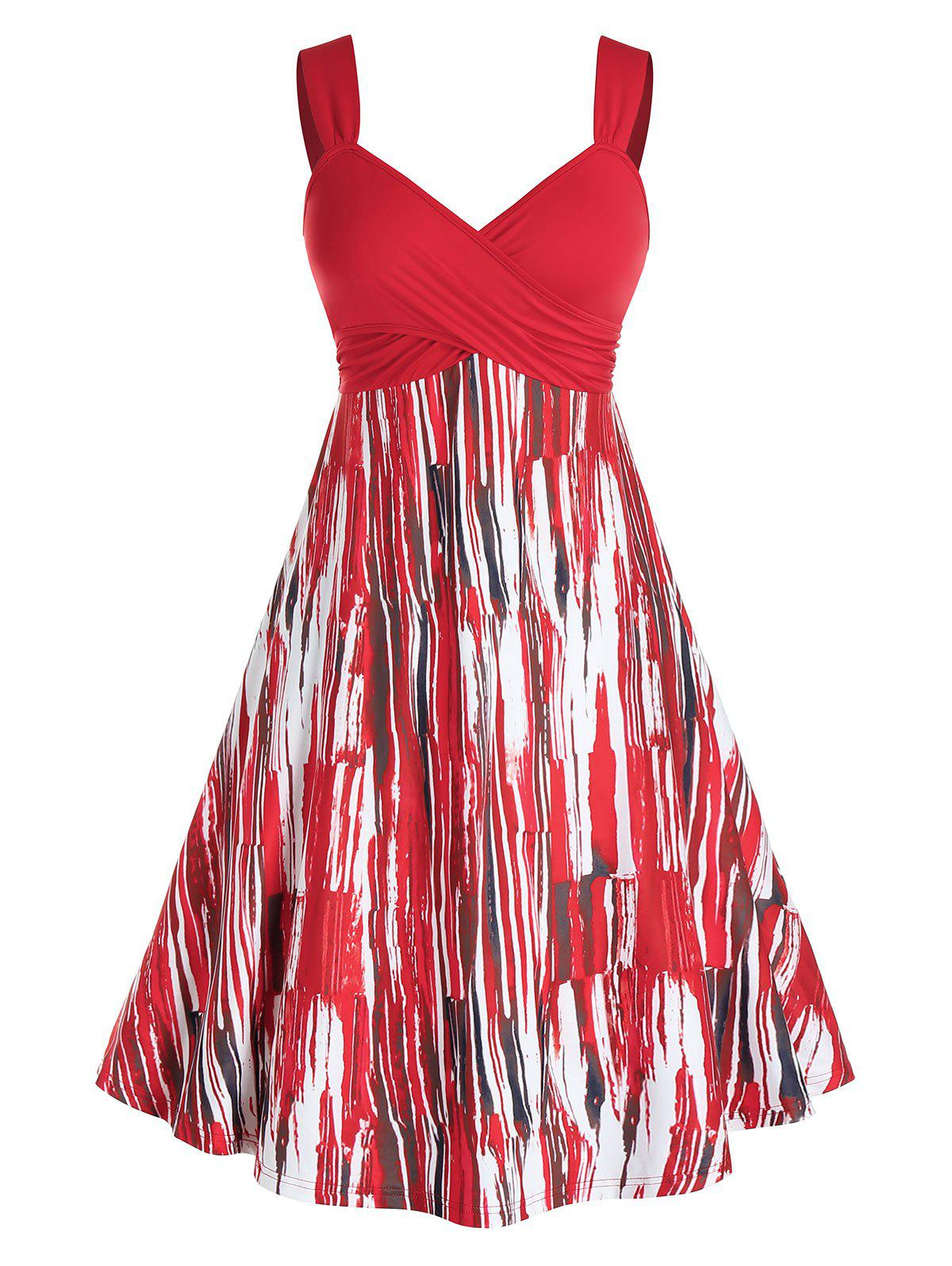 Plus Size Crossover Backless A Line Print Dress - RED 1X