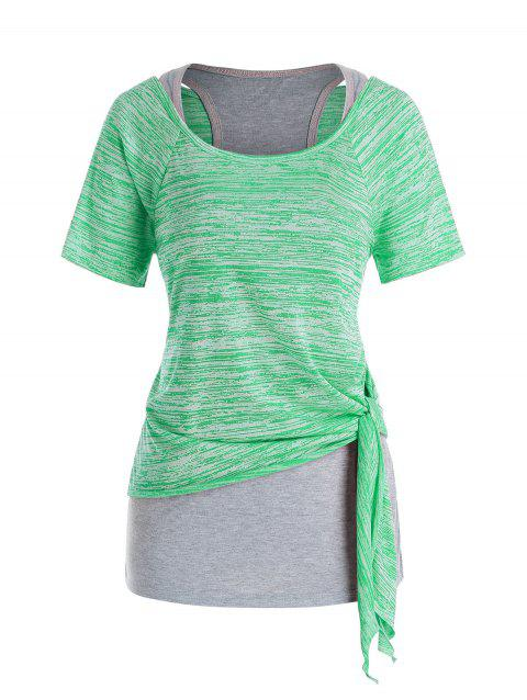 Plus Size Marled Tie Knot T Shirt and Racerback Tank Top Set