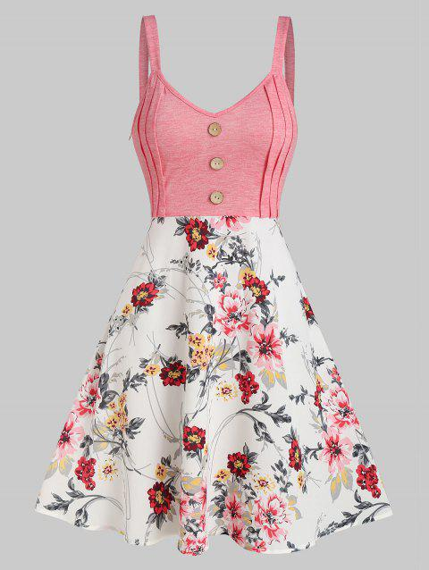 Floral Print Mock Button Mini Cami Dress