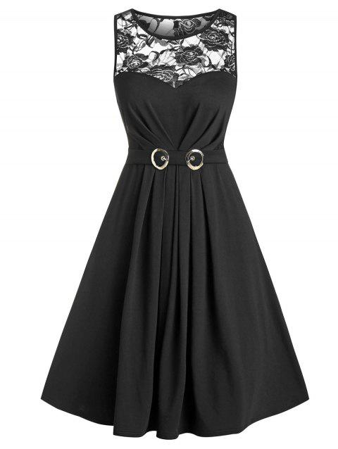 Sheer Lace Insert Belted Ruched Mini Sleeveless Dress