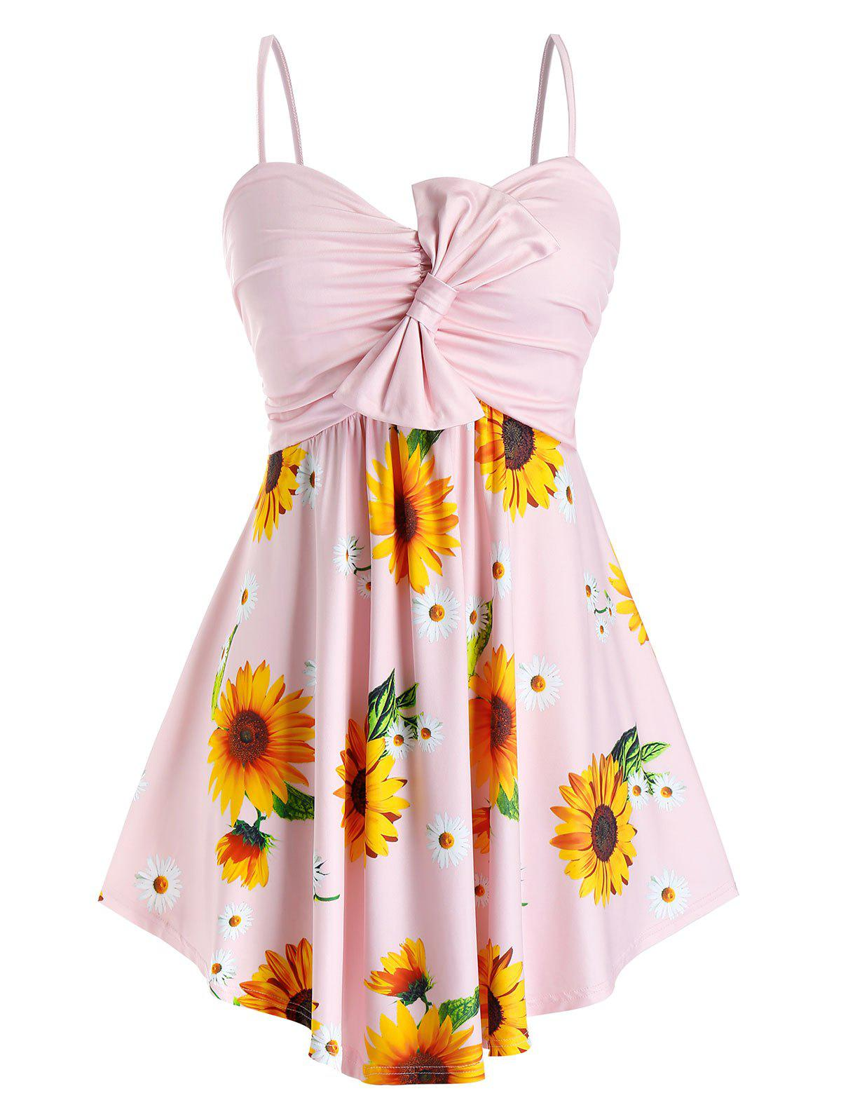 Plus Size Sunflower Bowknot Ruched Cami Tank Top - PIG PINK 1X