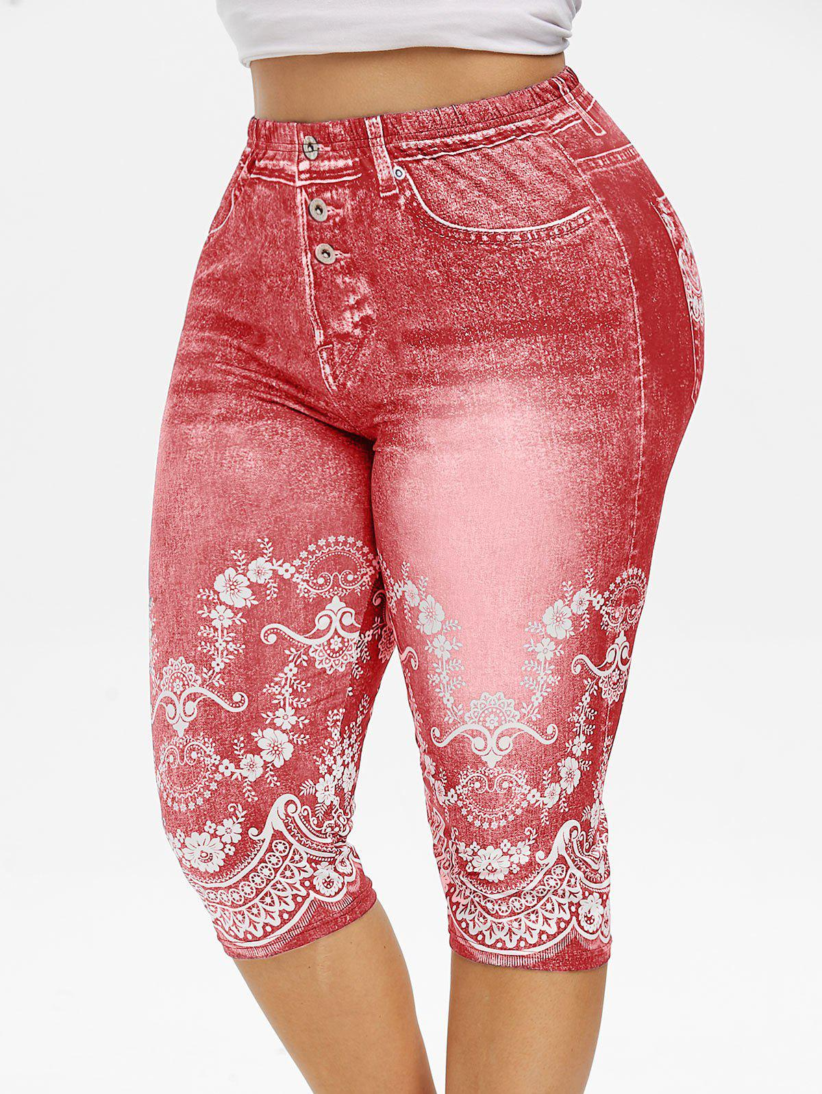 Plus Size Cropped 3D Floral Print Jeggings - PINK 5X