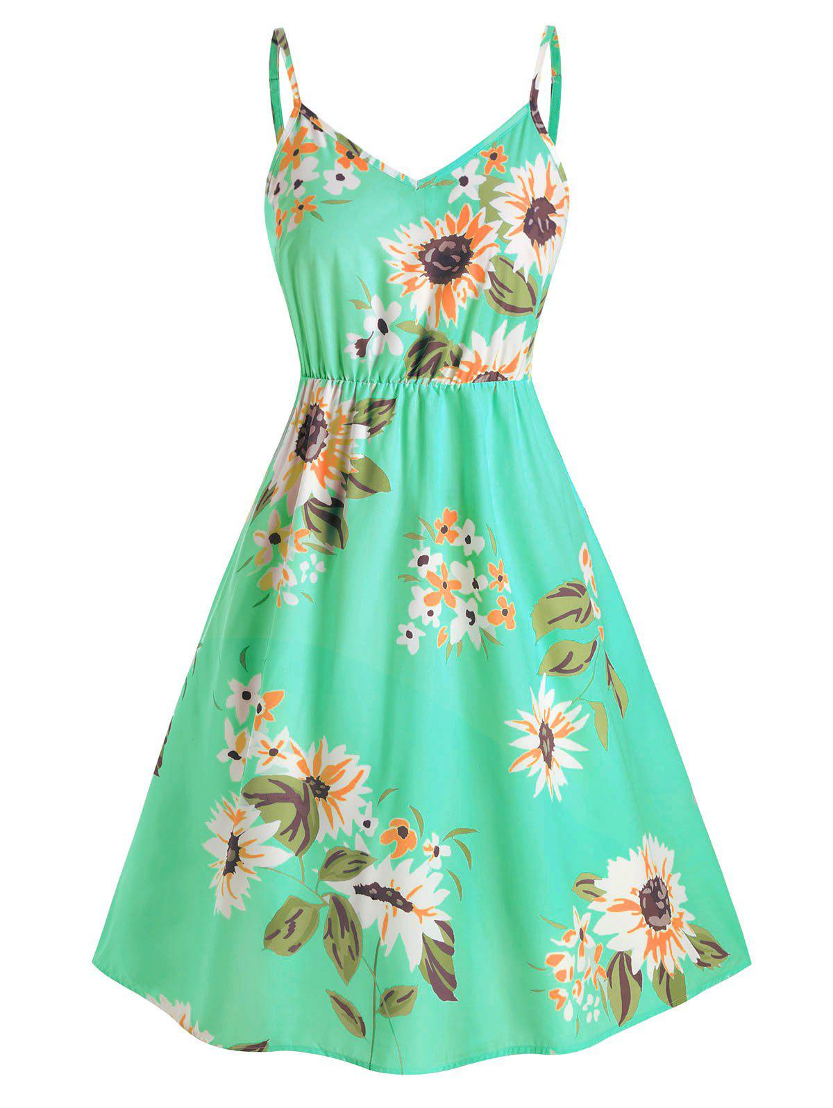 Plus Size Sunflower Print Smocked Dress - GREEN 2X