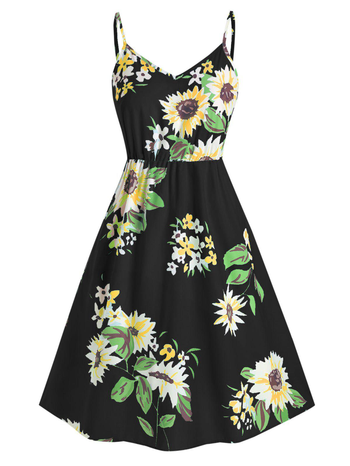 Plus Size Sunflower Print Smocked Dress - BLACK 4X