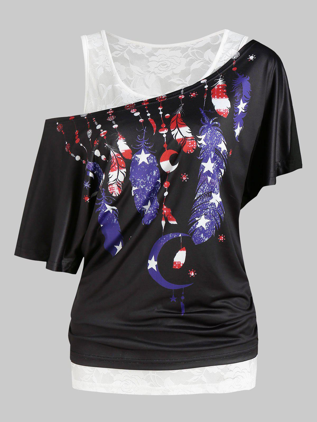 American Flag Feather Print Blouson Tee And Lace Tank Top Sets - BLACK L
