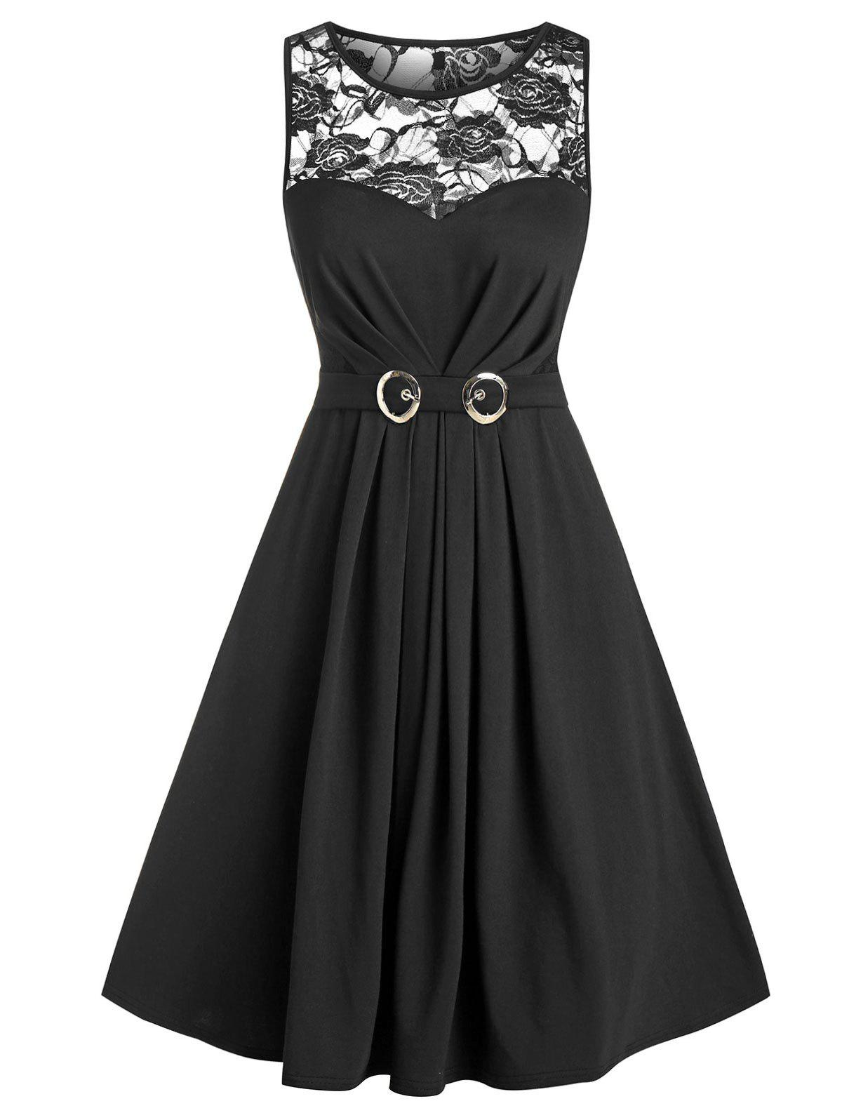 Sheer Lace Insert Belted Ruched Mini Sleeveless Dress - BLACK XL
