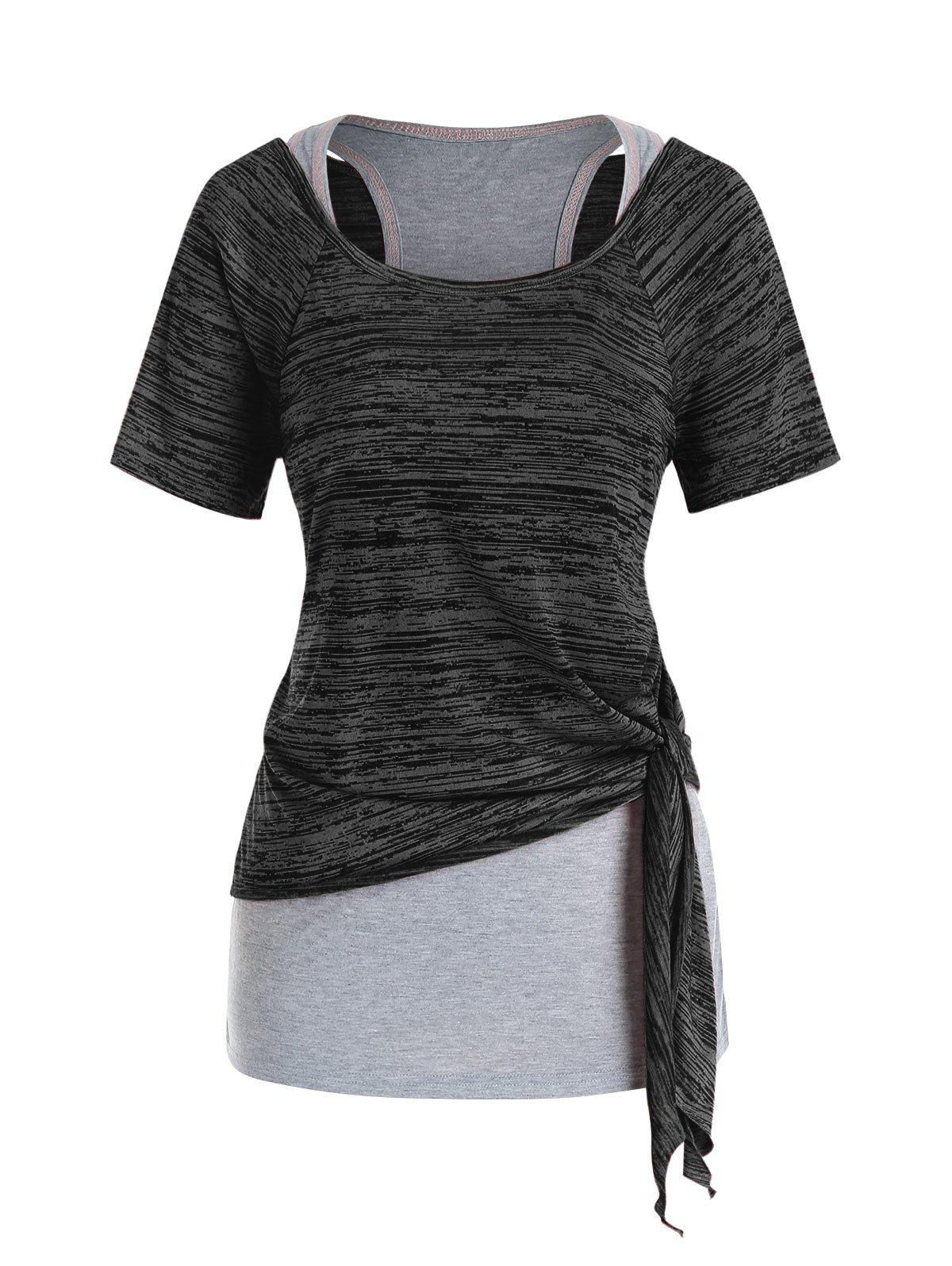 Plus Size Marled Tie Knot T Shirt and Racerback Tank Top Set - DARK SLATE GREY 5X