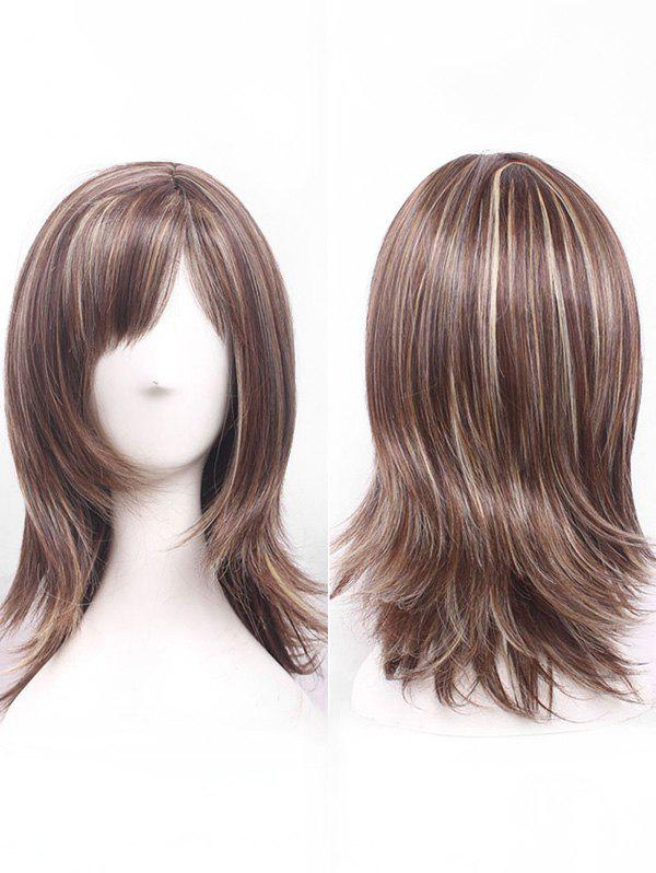 Medium Side Bang Straight Mixed Color Synthetic Wig - COFFEE