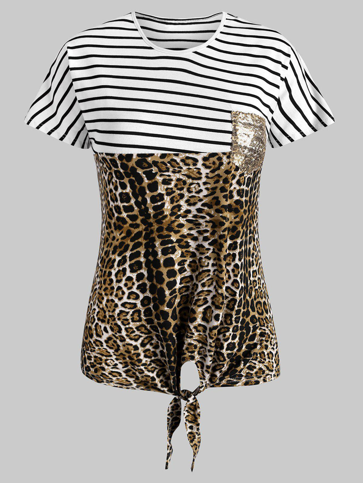 Striped Leopard Sequined Front Pocket Tee - LEOPARD M