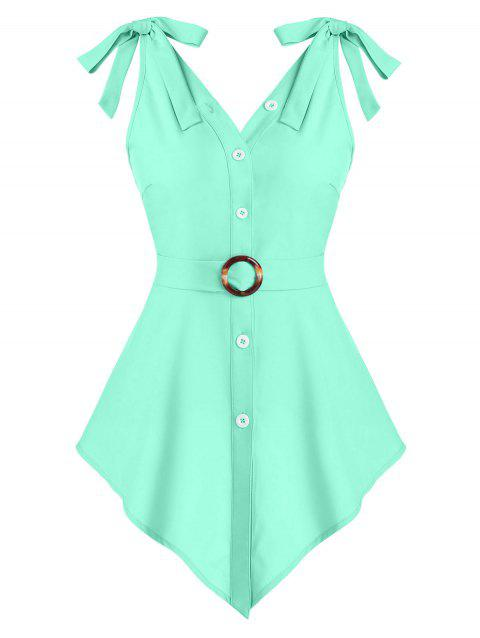 Pointed Hem Bowknot O-ring Belted Tank Top