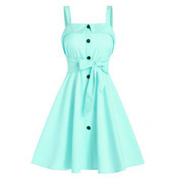 Mock Button Bow Tie Mini Cami Dress