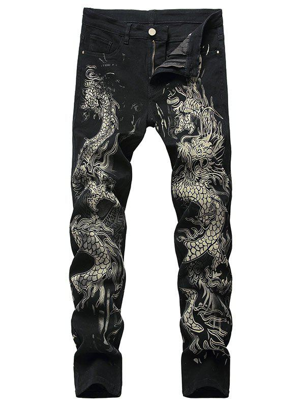 Dragon Pattern Zip Fly Jeans - BLACK 34