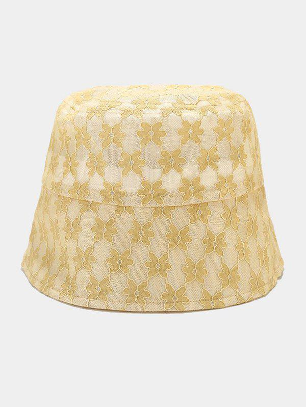 Lace Flower Embellished Sun Hat - YELLOW