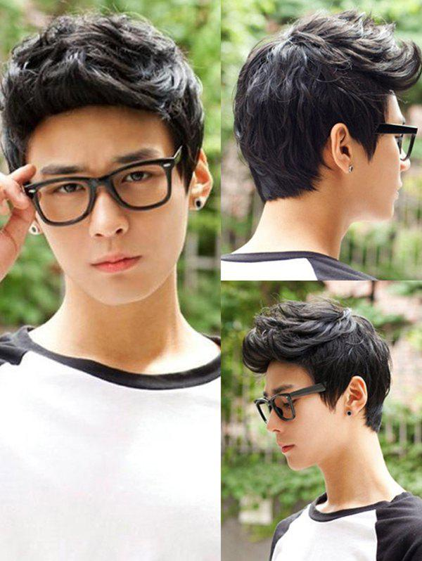 Short Layered Natural Straight Synthetic Wig For Men - BLACK