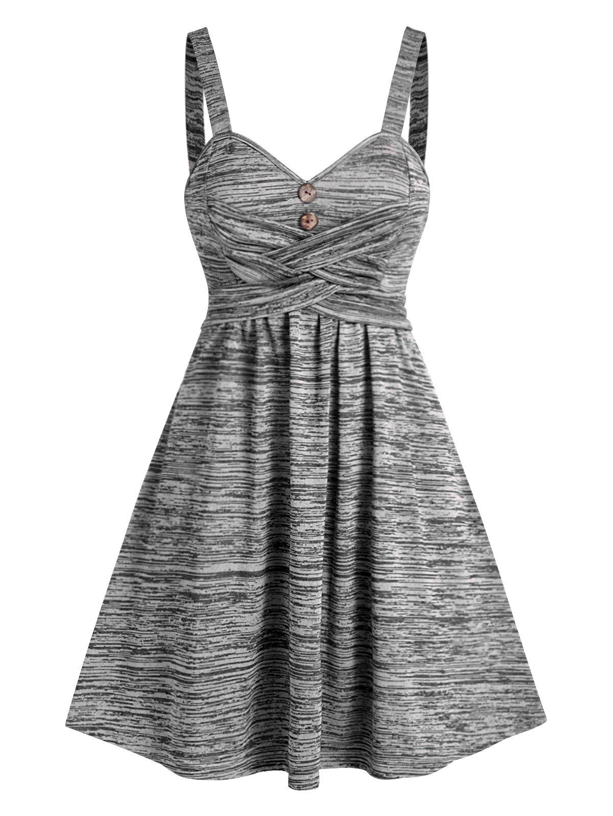 Space Dye Crisscross Cami A Line Dress - GRAY XL
