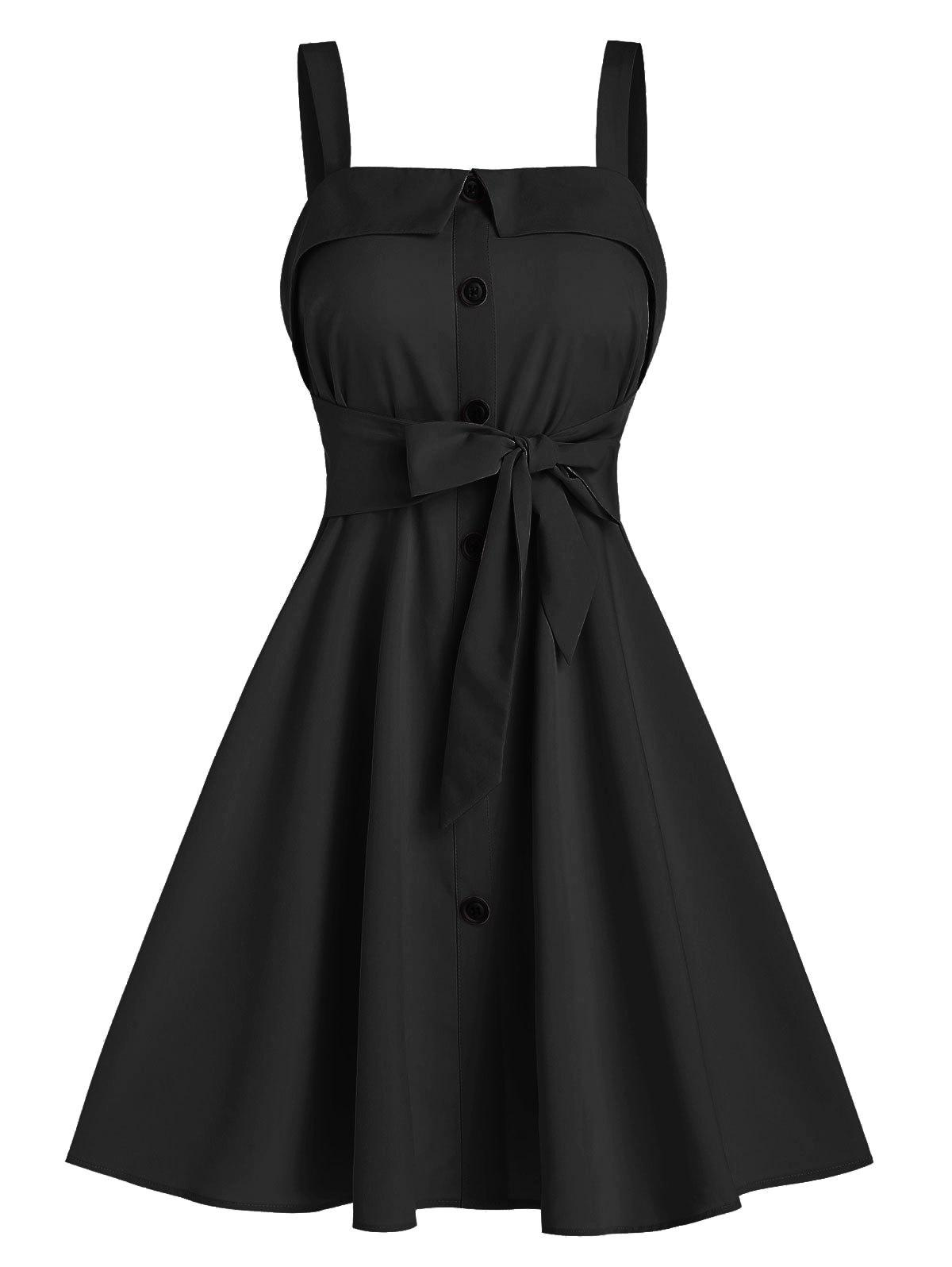 Mock Button Bow Tie Mini Cami Dress - BLACK L