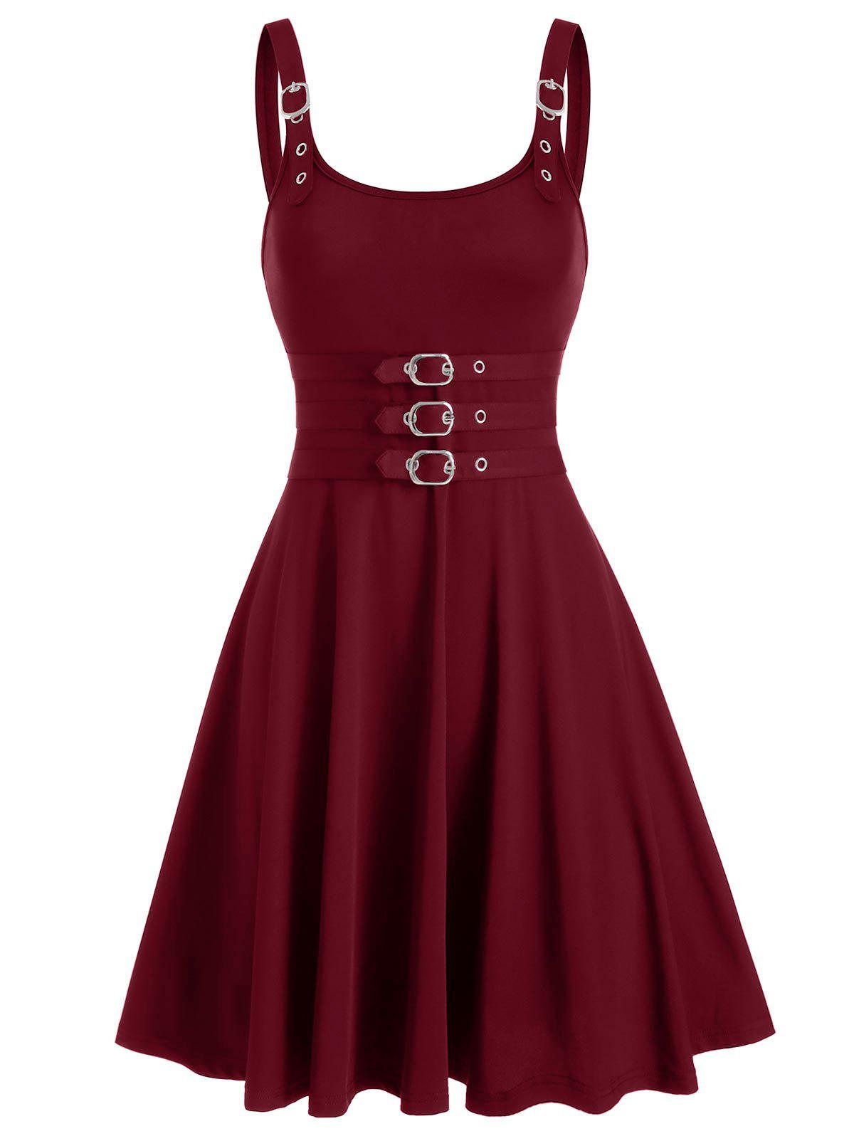 Buckles Square Neck Fit And Flare Dress - RED WINE 3XL
