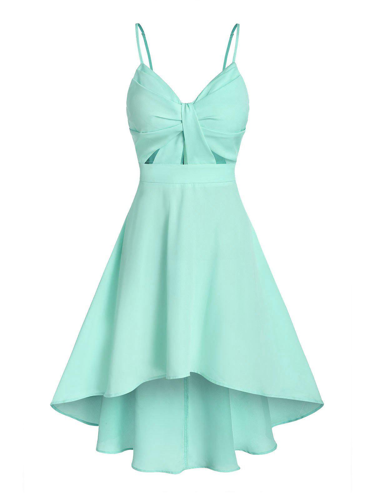Solid Front Knot Cami Dip Hem Dress - GREEN M