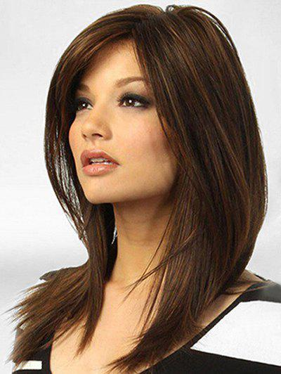Side Parting Middle Straight Synthetic Wig - MOCHA