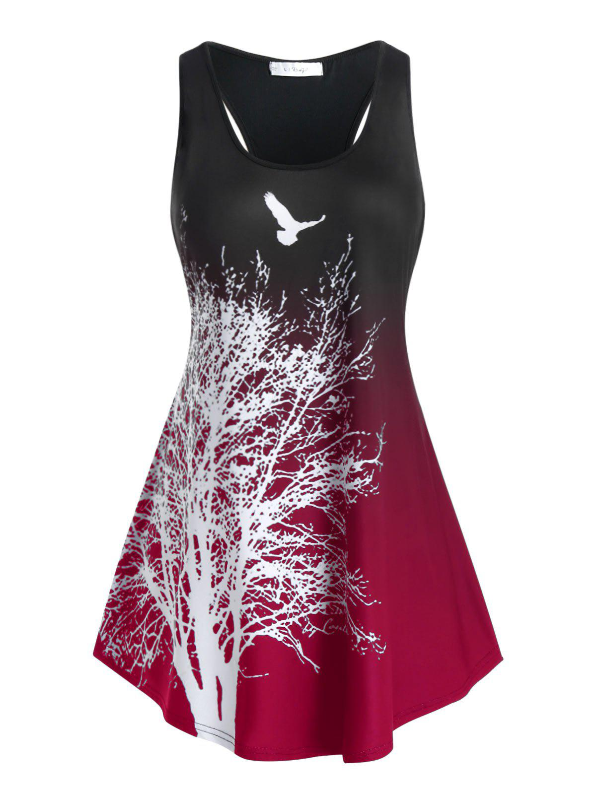 Plus Size Ombre Tree Print Racerback Tank Top - RED WINE 4X