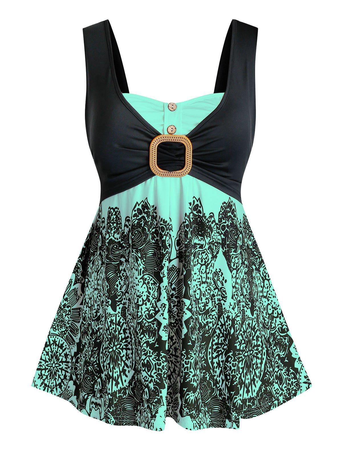 Plus Size Front Knot Printed Tank Top - MEDIUM TURQUOISE L