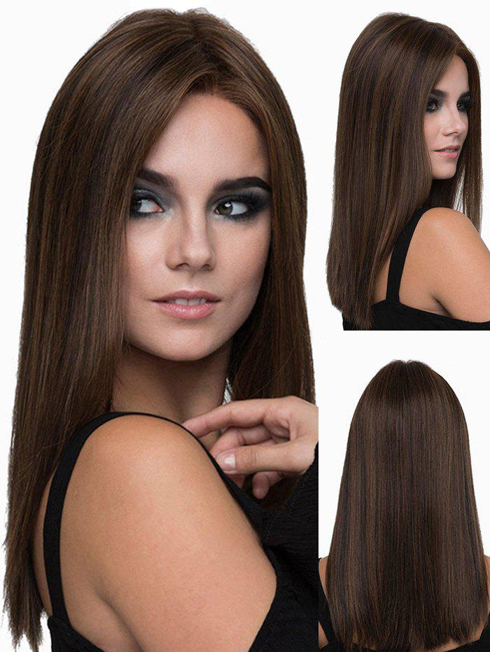 Middle Part Long Silky Straight Heat Resistant Synthetic Wig - COFFEE
