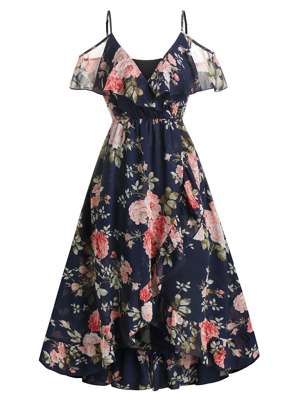 Floral Print Cold Shoulder Surplice Dress - CADETBLUE L
