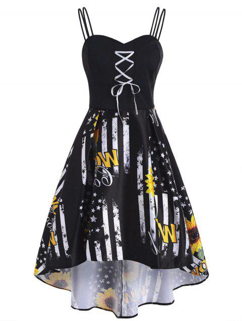 Patriotic American Flag Sunflower Lace Up High Low Dress