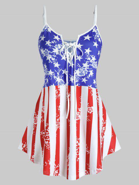 Plus Size Patriotic Lace Up American Flag Cami Top