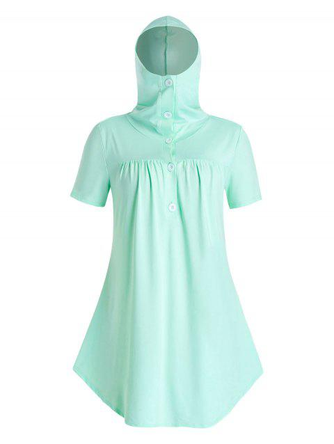 Plus Size Hooded Face Protective Placket Tunic Tee