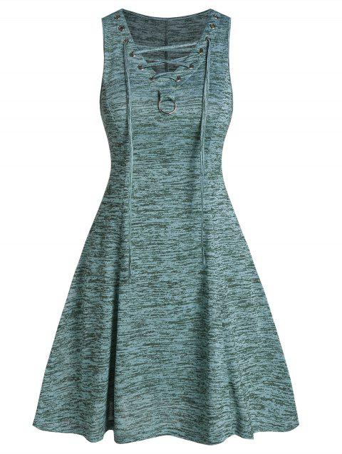 Lace Up Space Dye Fit And Flare Dress