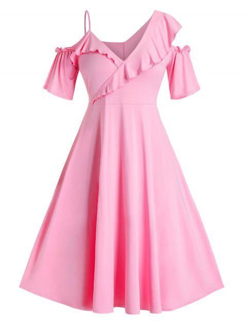 Plus Size Ruffle Cold Shoulder Plunging Dress