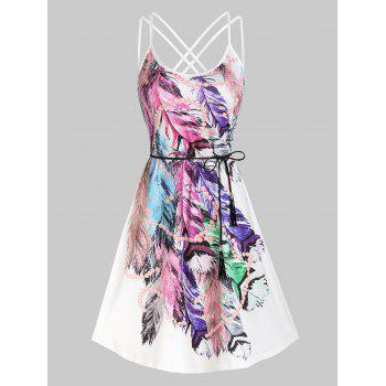 Feather Print Strappy Belted Dress