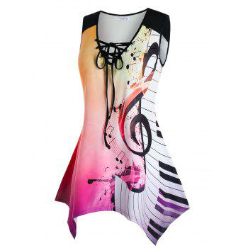 Plus Size Musical Notes Ombre Handkerchief Tank Top