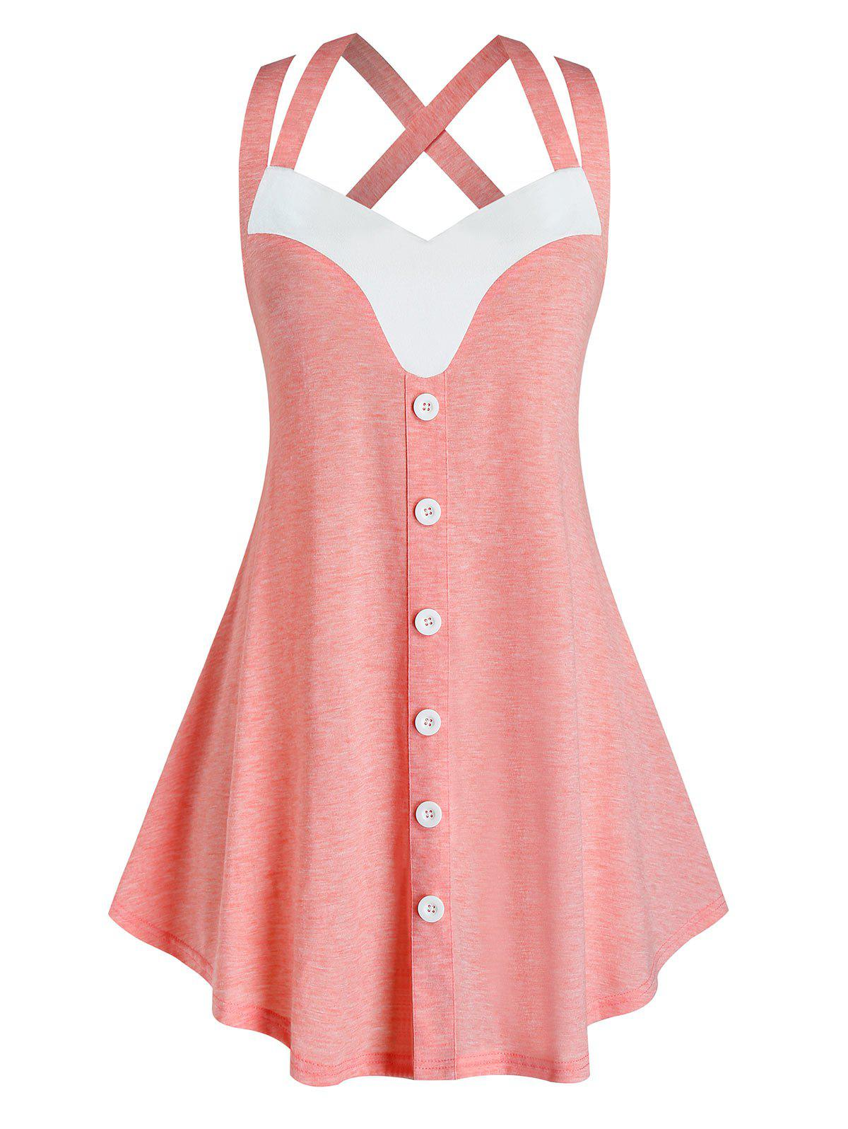 Plus Size Criss Cross Back Tunic Tank Top - LIGHT PINK 2X