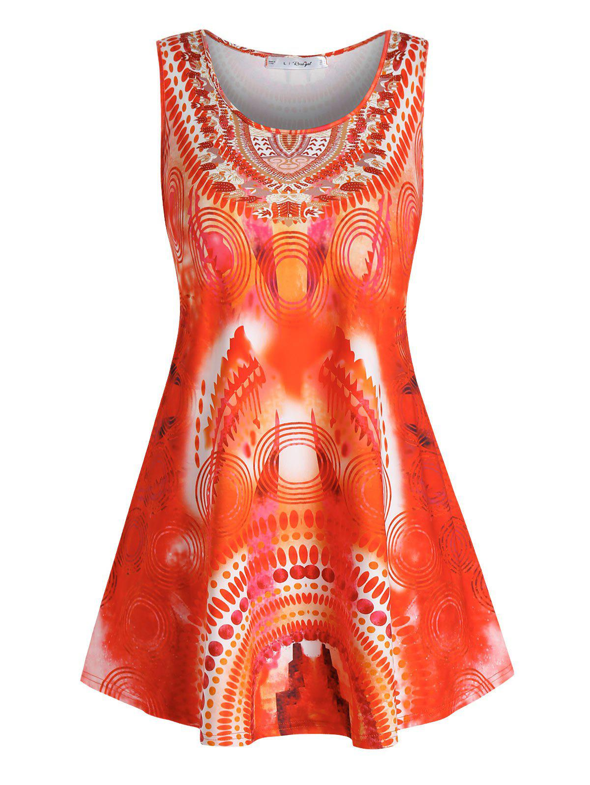Plus Size Tribal Print Casual Tank Top - HALLOWEEN ORANGE 2X