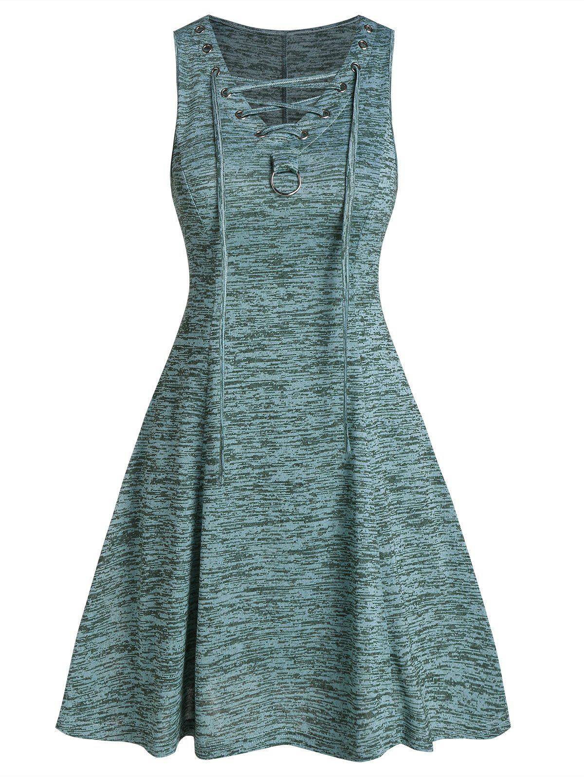 Lace Up Space Dye Fit And Flare Dress - MEDIUM TURQUOISE 3XL