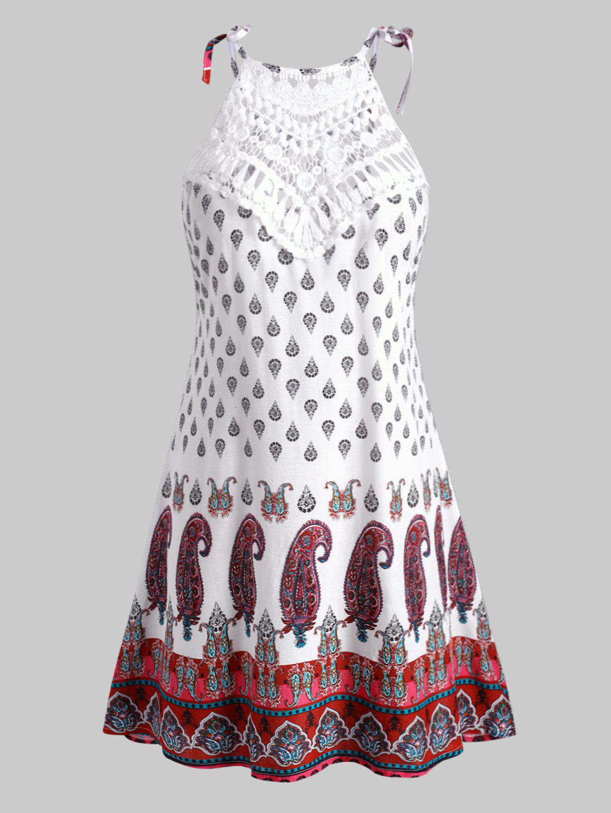 Paisley Printed Crochet Panel Tie Shoulder Plus Size Dress - WHITE 4X