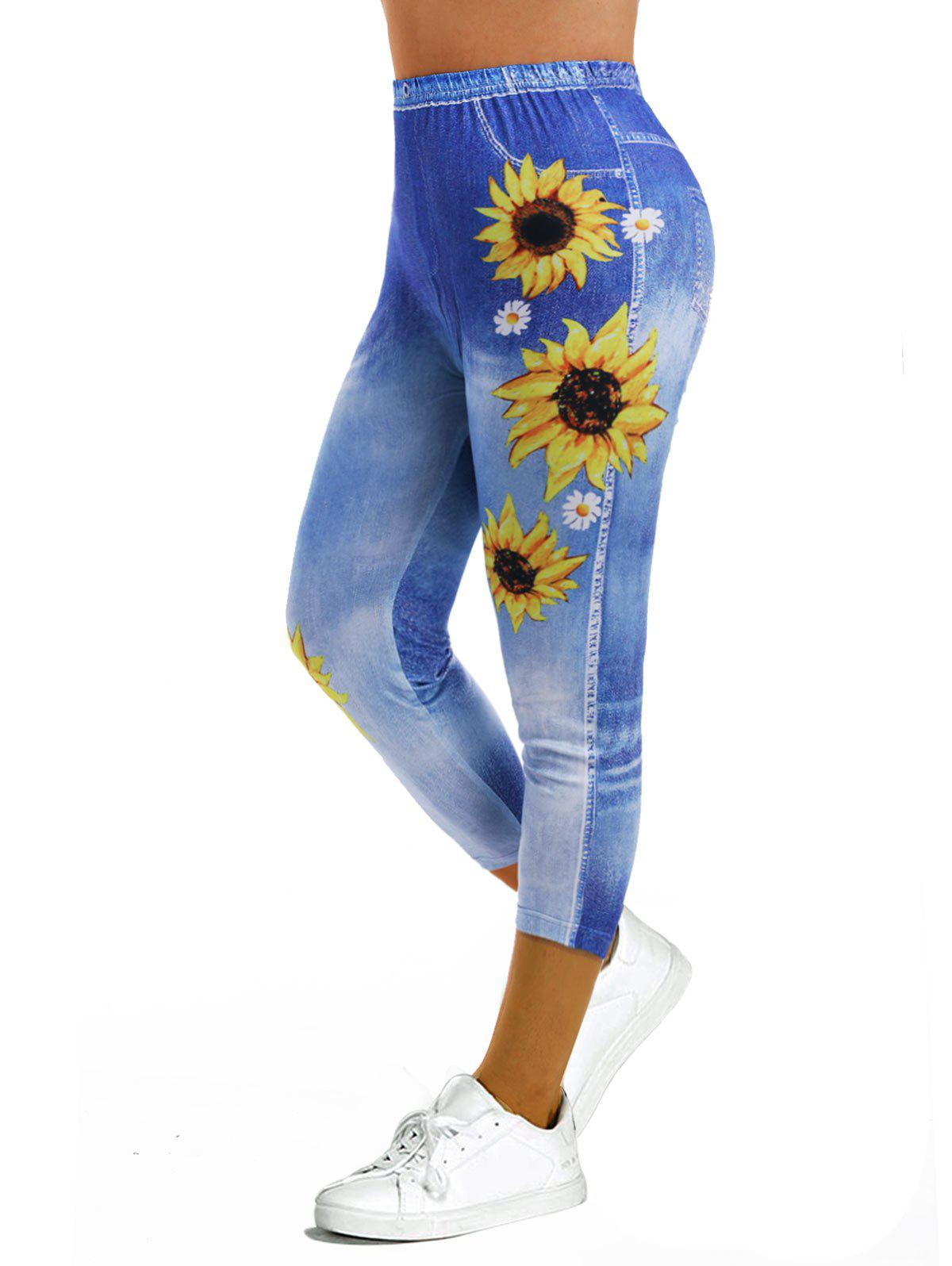 3D Print Sunflower Capri Jeggings - SKY BLUE S