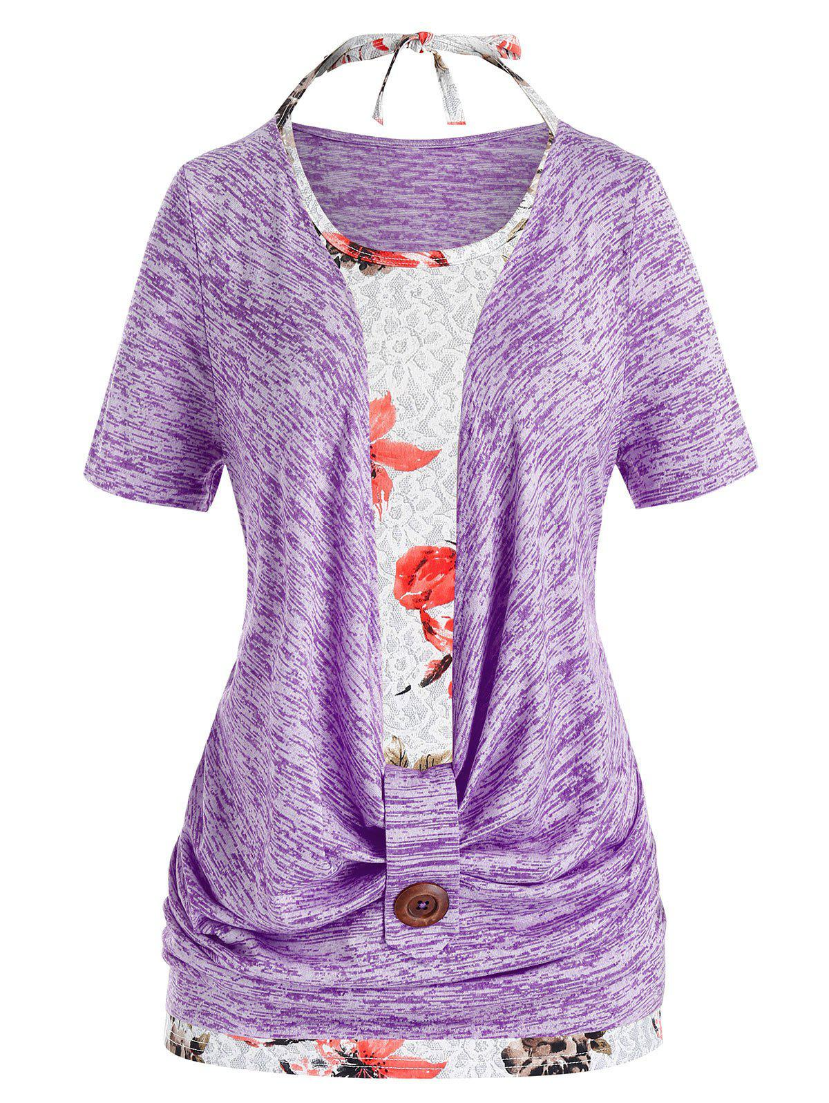 Plus Size Cowl Front Marled T Shirt And Halter Floral Tank Top Set - CROCUS PURPLE 5X
