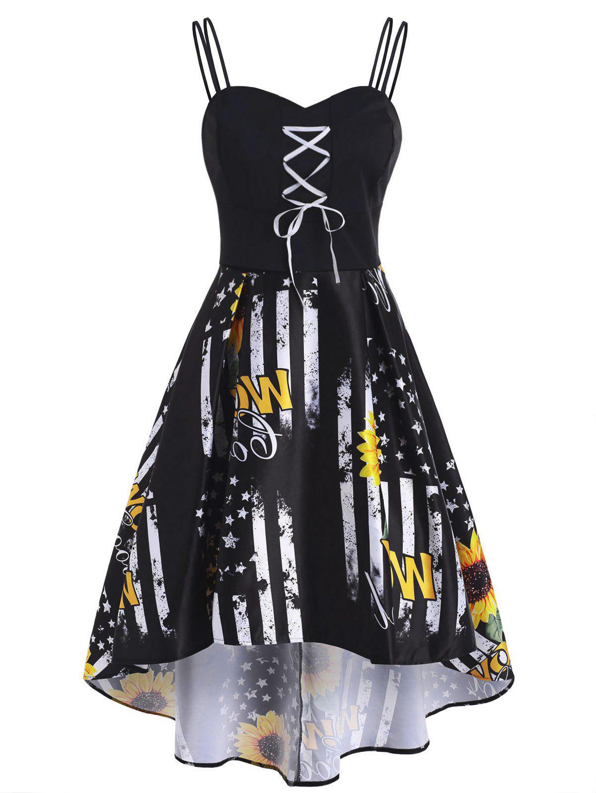 Patriotic American Flag Sunflower Lace Up High Low Dress - BLACK M